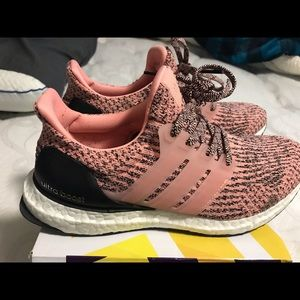 Pink and black ultra boost